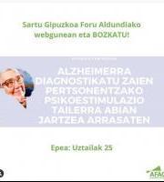 Alzheimerra diagnostikatutako pertsonentzako psikoestimulazio-tailerra